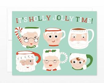 Cute Retro Holiday Greeting Card - Christmas Santa Mugs Card - It's Holly Jolly Time - Elf, Mrs Claus Mugs Christmas Card - Funny Xmas Card
