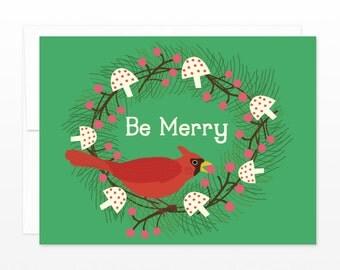 Cute Cardinal Christmas Card, Funny Holiday Greeting Card, Wreath Card, Bird Holiday Card, Xmas Card, for Coworker, Card for Friend