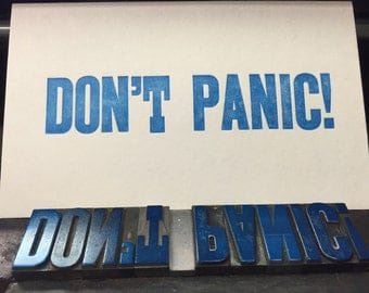 Don't Panic letterpress coaster print