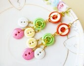 Button Earrings, Super Sweet Tutti Frutti Long Dangles, Vintage Button Earrings, Colorful Earrings, Repurposed Jewelry