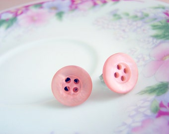 Soft Pink Button Studs, Iridescent Pink Button Studs, Pretty Button Earrings, Pink Button Jewelry, Surgical Steel Studs, Vintage Button Stud