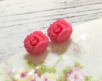 Pink Rose Studs, Tiny Rose Studs, Pink Flower Earrings, Tiny Flower Earrings, Flower Girl Earrings, Surgical Steel Studs, KreatedByKelly