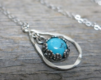 Wild Duende necklace ... fine silver / sterling sliver / sleeping beauty turquoise