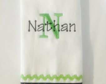 Monogrammed Burper Burp Cloth Baby Shower Gift Personalized Monogram Boy Girl