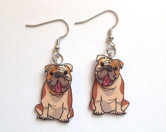 English Bulldog 3D Earrings Handcrafted in USA