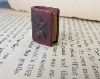 Book Charm Book Pendant Book Bead Book Lover Literature Handmade Jewelry Supply Red Black Embossed Antique Look Michele Gabriel Studio
