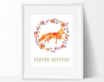 Renard Sauvage Watercolor Print