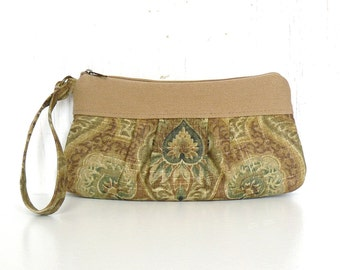 Pleated Wristlet, Small Clutch Purse, Zipper Wristlet Clutch - Dryad Damask in Tan, Sage Green and Bronze