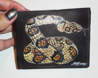Boa Constrictor Snake Custom hand Painted Leather Men's Wallet