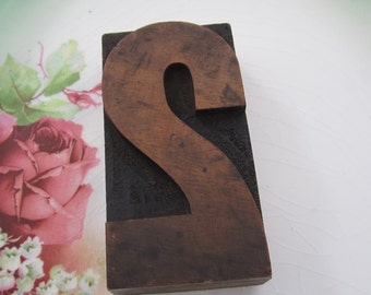 Antique Letterpress Wood Type Printers Block Number Two 2