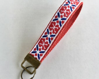 Wristlet Key Fob Chain Ribbon Embroidery Patriotic Blue Red