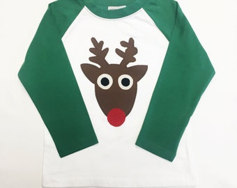 Toddler Boys Christmas shirt- Reindeer Appliqué on Green & White Raglan Baseball Shirt