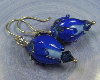 Royal blue flower bud earrings