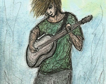 Original Pen and Ink Wash Drawing Guitar Player