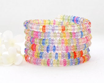 Multicolor Bracelet Memory Wire Wrap Around Cuff Spellbound Surround - Bright Pastel Bracelet - Gift for Her - Beaded Bracelet - Beaded Cuff
