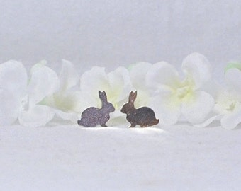 Silver Bunny Rabbit Stud Post Earrings Graci and Grayson - Small Bunny Earrings - Silver Bunny Rabbit Earrings