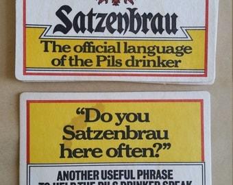 Vintage Satzenbrau Pils beer Cardboard Coaster,  Brew Collector Mats, UK drink mats