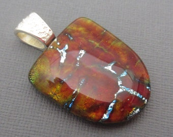 Red yellow and silver fused glass dichroic pendant hand crafted glass hand crafted fused glass jewelry blended colors unique technique