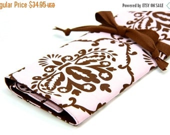 Sale 25% OFF Large Knitting Needle Case - Leanika Damask - brown pockets for circular, straight, dpn, or paint brushes