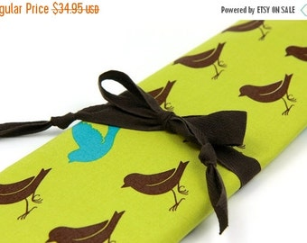 SALE large knitting needle case - sparrow on leaf green - brown pockets for all sizes or paint brushes, colored pencils