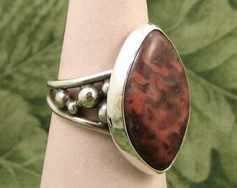 Found Stone - Jasper? - Sterling Ring size 7.25 - OOAK