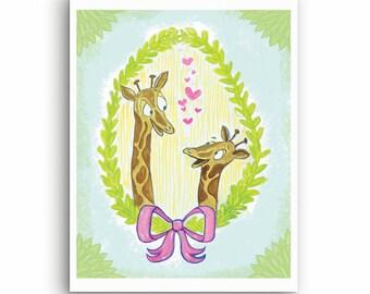 Giraffe mom dad and kid baby loving picture photo drawing nursery print illustration jungle theme animal giraffes cute fun silly