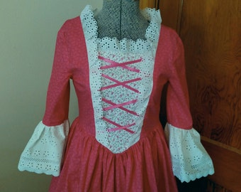 Pink Colonial Dress for Girls, Size 8, Ready to Ship