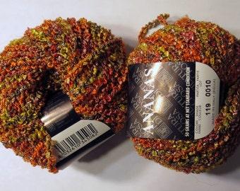 2 skeins Yarn Rayon Acrylic Nylon Ananas Filatura di Crosa #119 yellow pink red brown orange