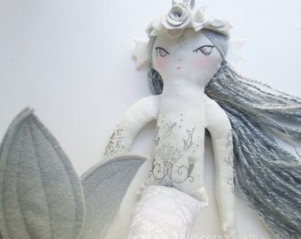 OOAK embroidered Mermaid cloth doll Silver