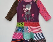 Size 3T (38 1/2 inch height) upcycled girls dress deer with patchwork skirt