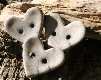 Handmade RAKU White Heart Button Set of 3