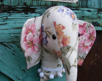 Faux taxidermy.fabric animal head , wall hanging. trophy head. Vintage fabric. Elephant trophy head.