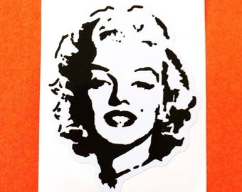 Marilyn Monroe Series Black and White Silhouette Face Portrait Kyoto Junk Shop Vinyl Sticker