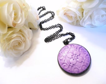 Purple and Lavender Necklace, Flower Jewelry, Purple Jewelry, Floral Jewelry, Vintage Style Design, Polymer Clay Artisan Jewelry