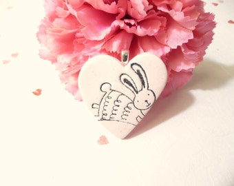 Easter Bunny Heart Pendant Pin or Magnet, Cute Bunny Jewelry, Light Pink Jewelry Rabbit Jewelry, Sparkly Heart, handmade polymer clay
