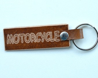 Motorcycle Leather Key Chain, Key Ring
