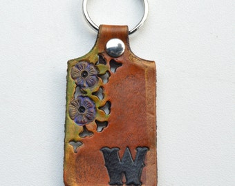 Leather Key Ring with Initial Custom Personalized