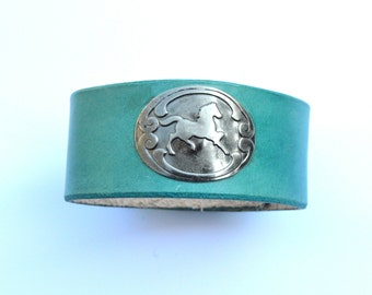 Horse Bracelet Cuff Leather Wristband Turquoise Color