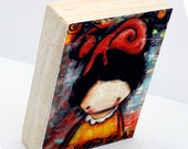 ACEO Giclee Fine Art Print on Pine Block - Cat on Her Head