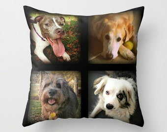 Custom Photo Pillow, Photo Collage Gift, Dog Lover Gift, Family Pet Pillow Cover