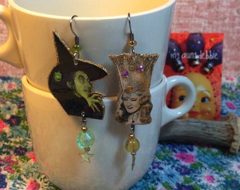 Wicked Witch of the West and Glinda the Good Witch Earrings Wizard of Oz Dorothy Ruby Slippers