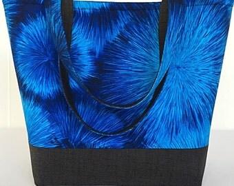 Large tote bag, Handbag, tote bag with pockets, Blue, Totes and purses, Purse, Womens handmade, handbags (218)
