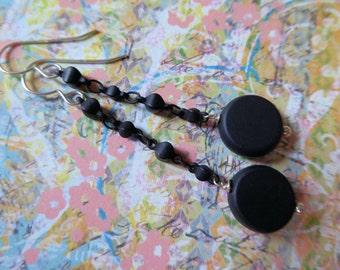 Elegant Long Black Dangle Earrings
