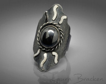 Boho Saddle Ring, Sterling Silver, Hematite, Large Size, Viking, Medieval, SCA