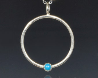 Minimalist Circle Necklace of Sterling Silver and Turquoise