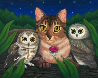 Cat Owls Art Saw Whet Owl Abyssinian Cat Fantasy Cat Art ACEO / ATC Mini Print Cat Lover Gift