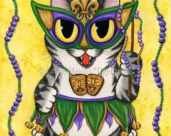 Mardi Gras Cat Art Party New Orleans Cat Painting NOLA Fantasy Cat Art Limited Edition Canvas Print 8x10 Cat Lovers Art
