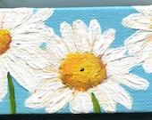 Shasta Daisies painting, mini canvas art, mini easel. Original acrylic painting flowers, small painting, Shasta daisies on blue