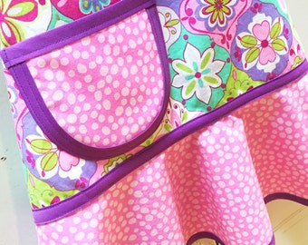Kids Apron, Little Girls Apron, Child Apron, Toddler Apron,Teen Apron,  Lavender, Pink, Lime & Aqua Floral Apron  - PINKABELLA
