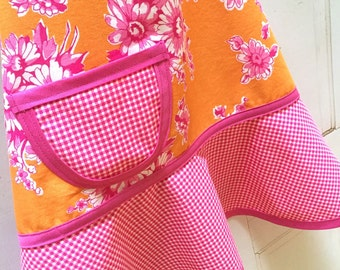 Pink & Orange Floral Kids Apron, Girls, Child, Toddler, Cooking, Pink, Orange Floral Apron - SAVANNAH FLORAL - Last One Size Small ONLY